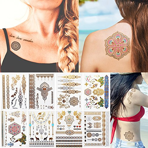 Everjoy Temporary Metallic Adult Tattoo - 100+ gold, silver and stylish glitter shimmer patterns (8 sheets)