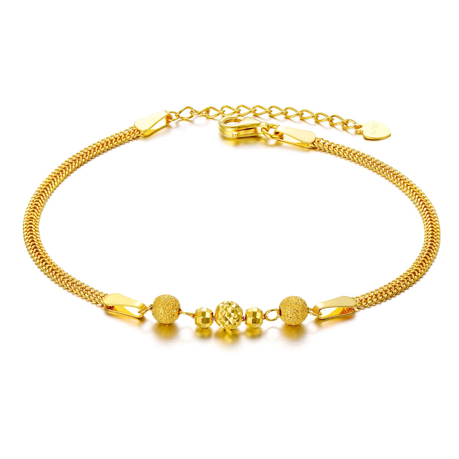 12a08144335a1 SISGEM Solid 18k Yellow Gold Bracelets for Women, Real Gold Chain Bracelet  Adjustable (2.3 mm, 6.5