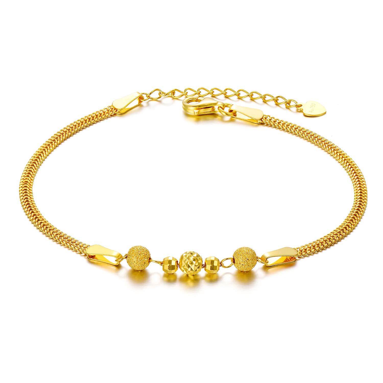 SISGEM Solid 18k Yellow Gold Bracelets for Women, Real Gold Chain Bracelet Adjustable (2.3 mm, 6.5''-7.7'')