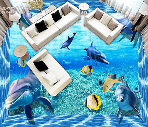 LWCX 3D Wallpaper Floor For Living Room Dolphin Sea World 3D Floor Stickers Pvc Self-Adhesive 3D Floor 250X200CM