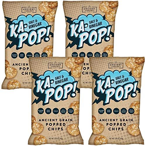 Ka-Pop! Popped Chips, Salt & Vinegar (3.25oz, Pack of 4) - Allergen Friendly, Ancient Grains, Gluten-Free, Paleo, Non-GMO, Vegan, Healthy, Whole Grain Snacks ()