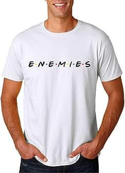 Enemies no Friends - Camiseta Hombre Manga Corta (Blanco, S): Amazon.es: Ropa y accesorios
