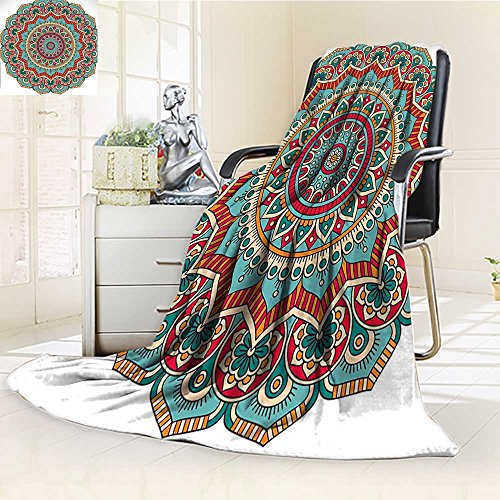 AmaPark Digital Printing Blanket Circle Meditation Folk Spiritual Culture Print Teal Orange Red Summer Quilt Comforter by AmaPark