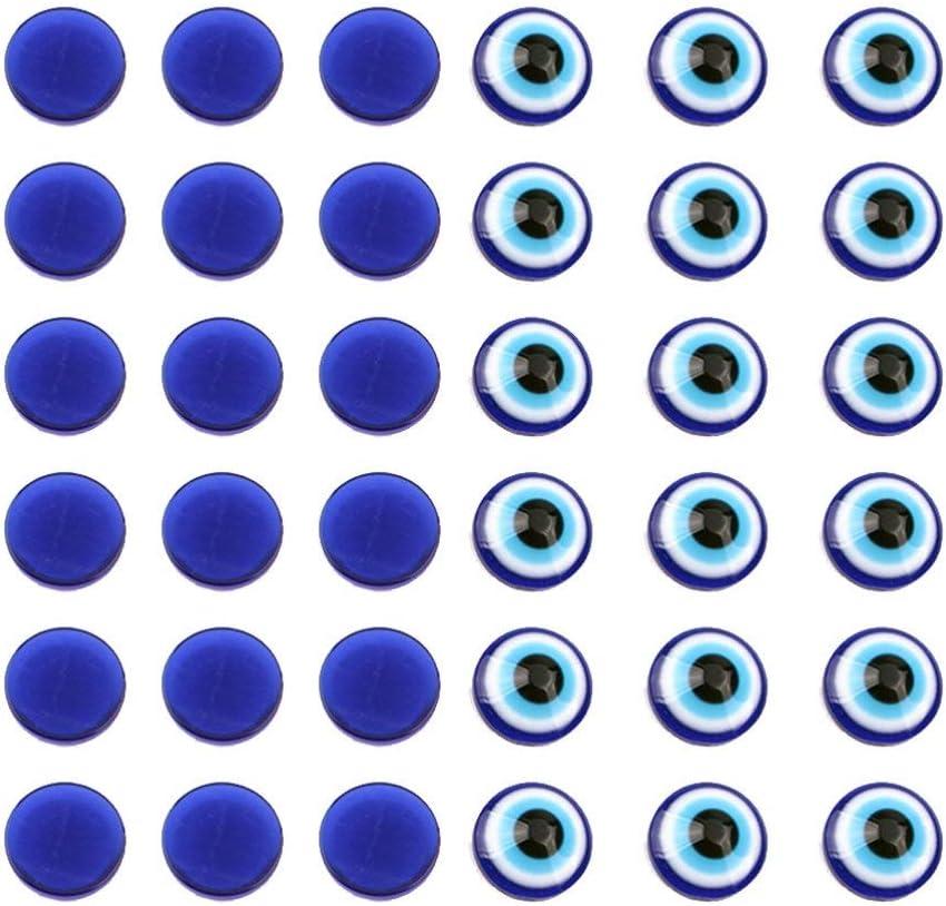 EXCEART 100 Pcs Bleu Mauvais Oeil Perles R/ésine Ronde Flatback Temps Gem Couverture Verre Cabochon D/ôme Pour DIY Scrapbooking Artisanat Projets Taille L