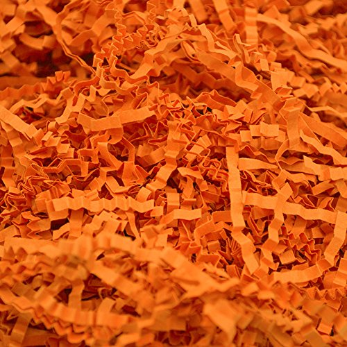 Dushi Crinkle Cut Paper Shred Filler for Packing and Filling Gift Baskets Perfect for Stuffing Gift Bags100 g (Orange)