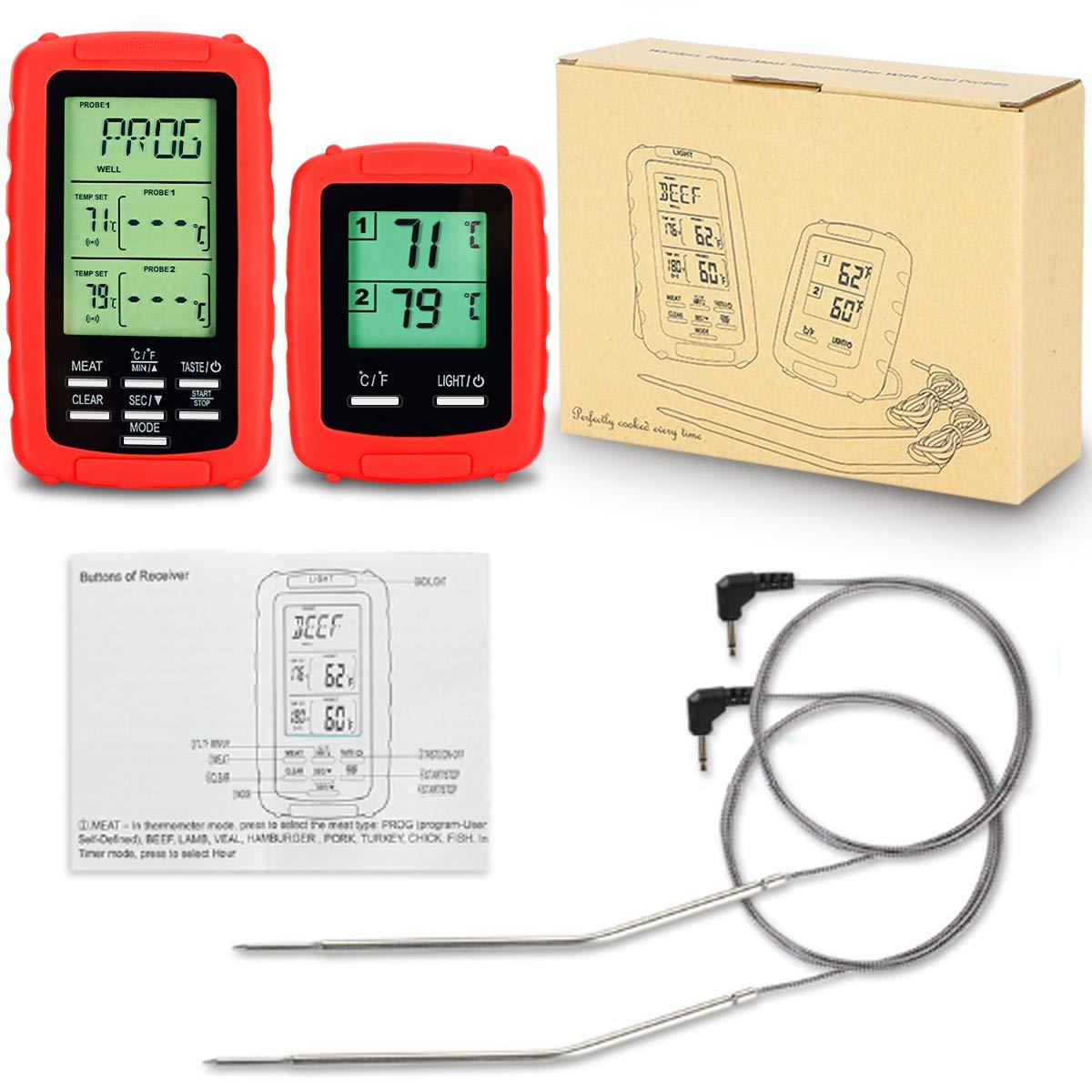 EAAGD Termómetro Digital Inalámbrico Para Cocinar Carne - 3 sondas + 4pcs AAA Batería,Para Cocina / Barbacoa / Horno / Comida, Controle Los Alimentos ...