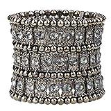 YACQ Jewelry Women's Multilayer Crystal Stretch Bracelet 3 Row (Grey)