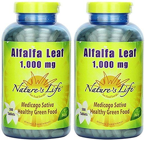 Alfalfa Leaf 1000mg – Vegetarian Nature s Life 500 Tabs Pack of 2