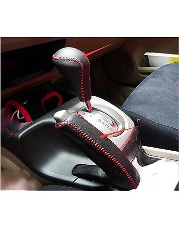 74f35352bd Salusy Black Leather Red Thread Gear Shift Knob Cover+Handbrake Cover For  Honda Civic 2006