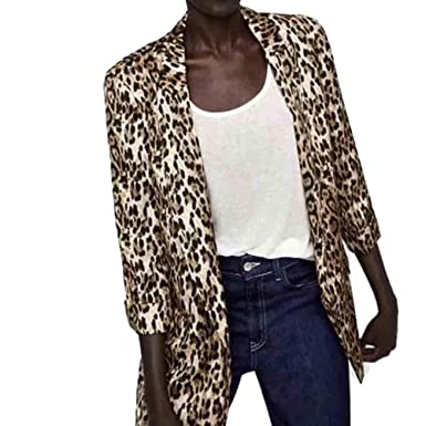 Mujer Manga Larga Blazer, STRIR Moda Leopardo Traje Chaqueta ...