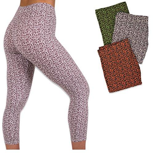 Womens 3 Pack Active Yoga Workout Capri Cropped Cotton Stretch Leggings (Large, 3PK-FLORA) -