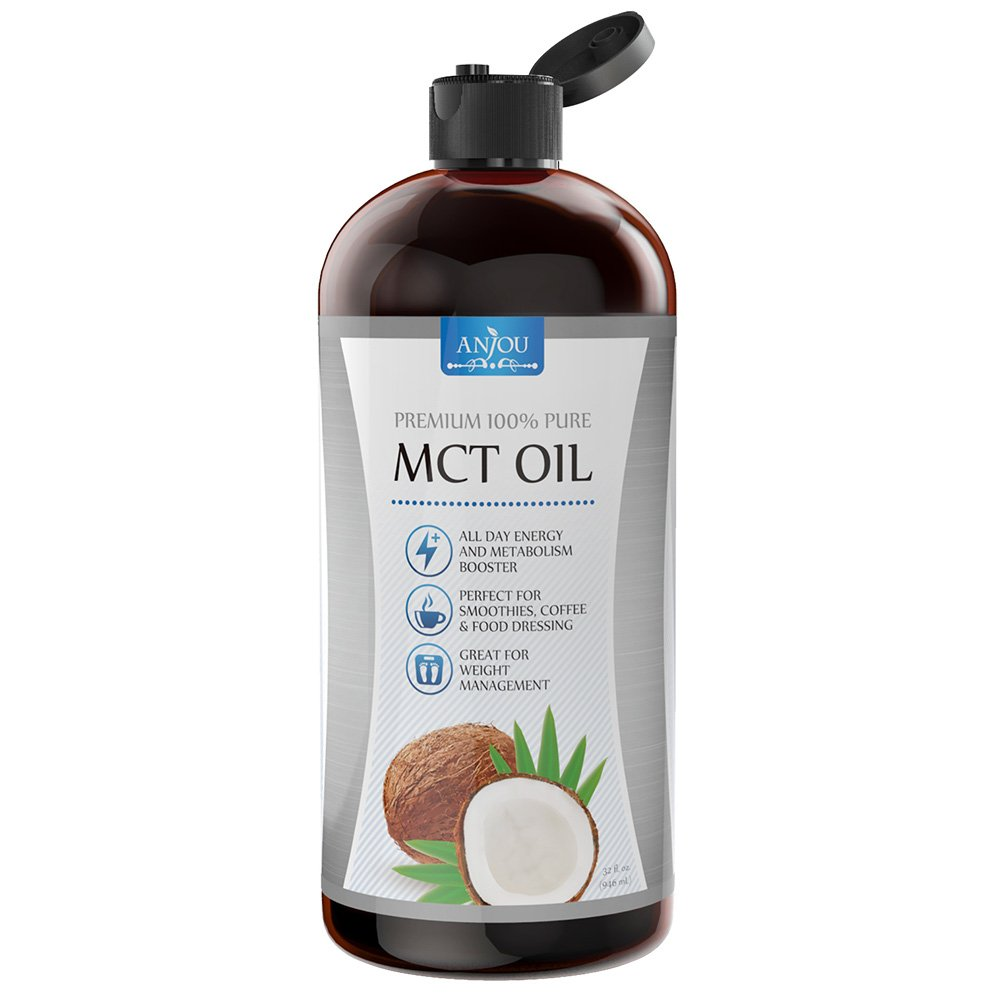 Anjou MCT Oil 32 oz, C8 C10 Derived from Non-GMO Coconuts, Weight Management, Boost Metabolism, Sustain Energy, Keto, Paleo and Vegan Diet Approved, Gluten Free, BPA-Free Bottle, Made in USA
