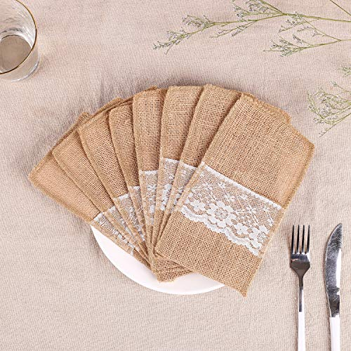 50pcs Natural Burlap Utensil Holders, Laoban Napkin Holders Knifes Forks Cutlery Pouch for Rustic Wedding Party Bridal Baby Shower Tableware Bags Favor, 4 x 8 Inch