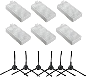 BBT BAMBOOST Accessories Replacement Parts Fit for ILIFE V3s V5 V5s V5s pro Robot Vacuum Cleaner - Filters and Side Brushes(Left+Right),Pack of 12
