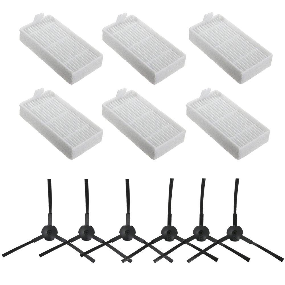 BBT(BAMBOOST) Accessories Replacement Parts for ILIFE V3s V5 V5s V5s pro Robot Vacuum Cleaner - Filters and Side Brushes(Left+Right),Pack of 12