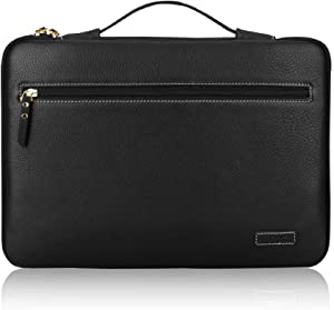"FYY 12-13.5"" [Premium Leather] Laptop Sleeve Case Cover Bag for MacBook Pro/ MacBook Air/ iPad Pro 12.9 2018 2017 2016, Laptop Bag for 12""-13.5"" Surface Lenovo Dell HP ASUS Acer Chromebook Black"