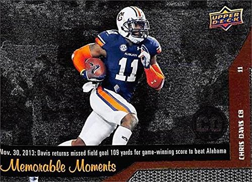 Chris Davis Football Card (Auburn Tigers) 2014 Upper Deck Conference Greats Memorable Moments returns missed field goal 109 yards beats Alabama #150
