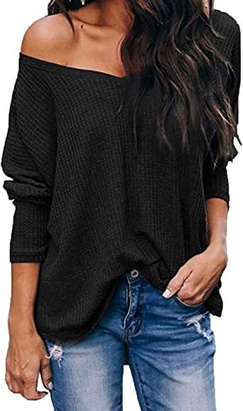 Women Batwing Sleeve Knit Jumper Top Loose Casual Off Shoulder Pullover Sweater Blouse