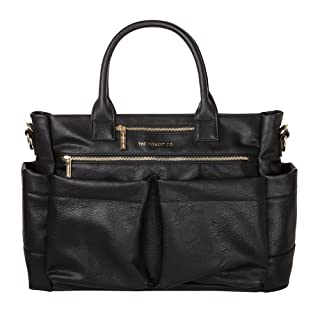 The Honest Company Everything Tote, Black | Vegan | PVC-Free Diaper Bag | Insulated Bottle Pockets | Changing Pad | Stroller Straps | Stylish and Functional