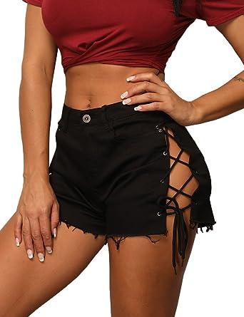 a495b07f421 Zaoqee Women s Sexy Hole Bandage Shorts