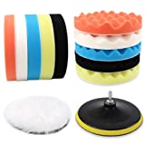 Coceca 12pcs 7 Inches Buffing and Polishing Pad, Drill Polishing Pads kit Car Including 10 Sponge Pads and 1 Woolen Buffer with 1 Drill Adapter (Color: Multicolored)