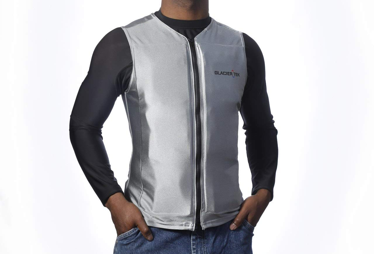 Flex Vest Cool Vest with Nontoxic Cooling Packs Gray Medium (Chest Size 36-42)