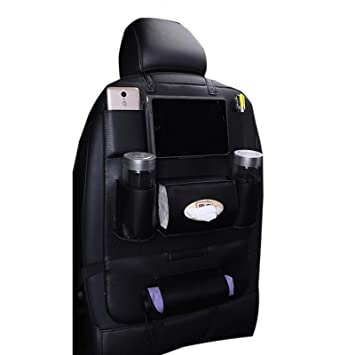 WSLCN Car Organisers Kick Mats Waterproof Seat Back Protectors PU Leather Car Seat Covers Kids Screen Holder Multi Pockets