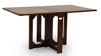 Woodstage Solid Wood Folding Dining Table For Dining Room Sheesham Wood Brown Finish Amazon In Home Kitchen