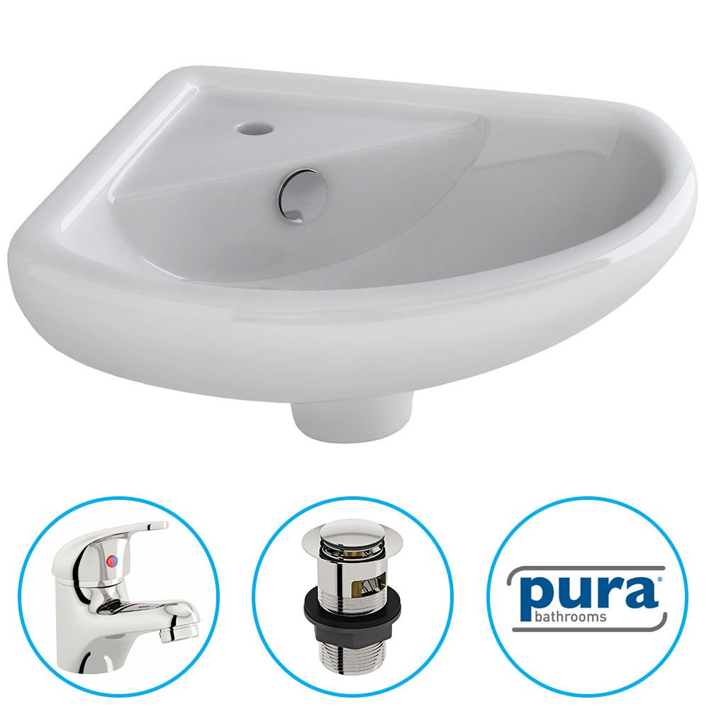 Bathroom Cloakroom Ceramic Compact Corner Small Wash Basin Sink Inc Tap & Waste Pura