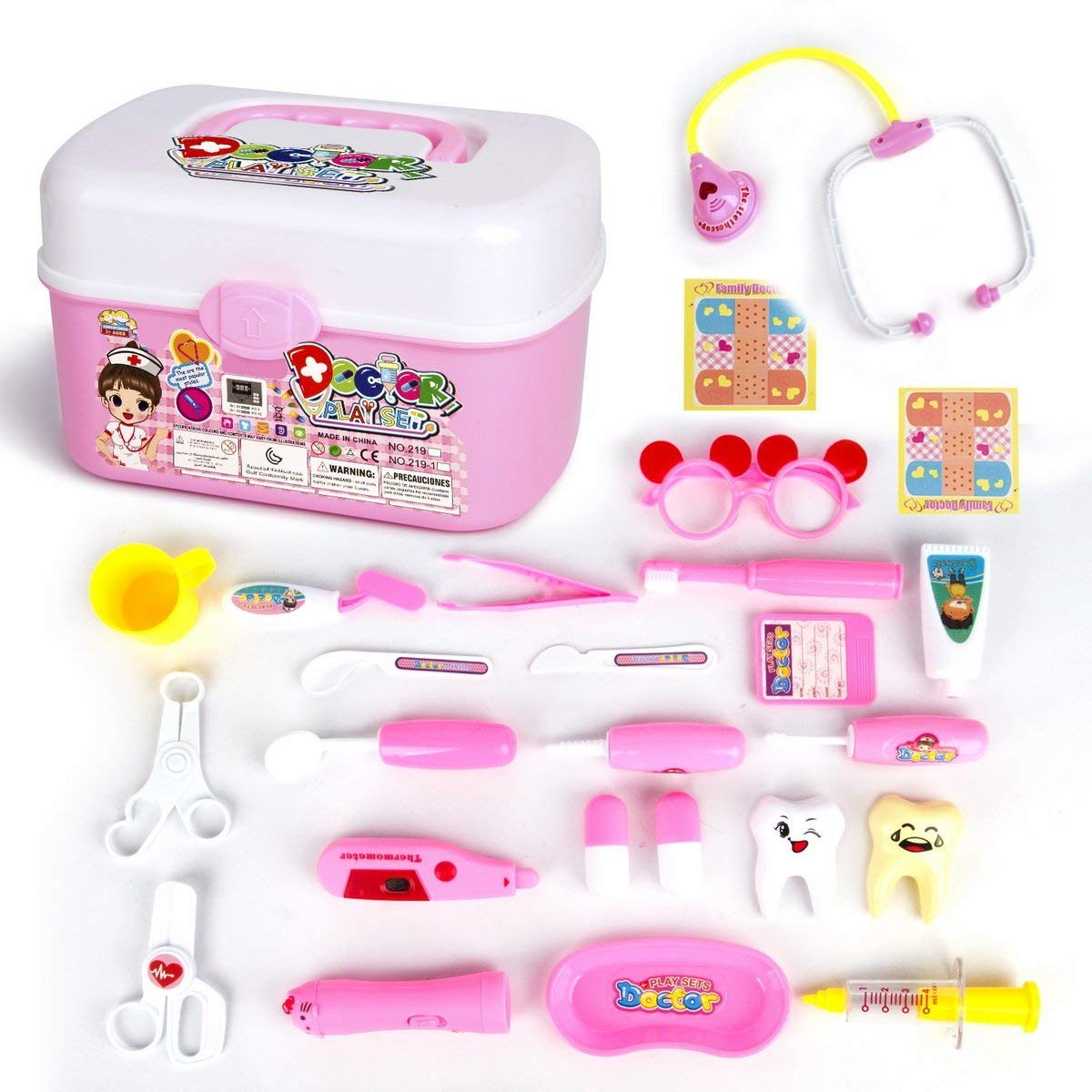 Doctor Kit for Kids 24Pcs Pretend Play Doctor Medical Kit Toys for Kids-Boy&Girl's Holiday Gifts Pink By OIKA