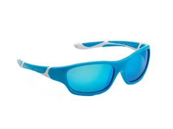 koolsun Niños Gafas de sol Sport 3 – 6 años, aqua & White + ICE BLUE Revo lente | 100% protección UV | Optical Clas 1, cat. 3