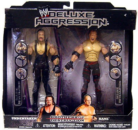WWE Jakks Pacific Wrestling Exclusive DELUXE Aggression Action Figure 2-Pack Undertaker & Kane (Brothers of Destruction)