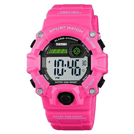 Reloj Deportivo para niños de Camuflaje LED, Resistente al Agua, Digital, electrónico,