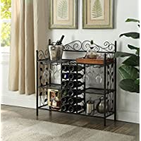 Black Metal Six (6) Shelf Kitchen Bakers Rack Console Table with 12 Bottles Wine Storage and 12 Glass Holder
