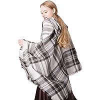 BYFRI Women Hooded Poncho Fashion Plaid Shawls Scarf Cloak Female Autumn Winter Warm Keeping Hoodies Wraps シWhite Light Grayシ