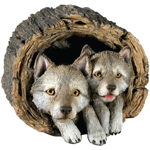 (Sandicast Forever Friends Gray Wolf Pups Sculpture, Lying)
