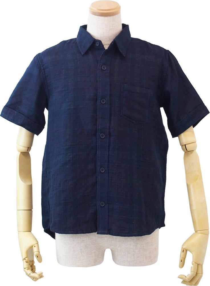 UCHINO マシュマロガーゼ シースルーチェック メンズシャツ (M) ダークブルー RTS10078 M DB B072B9NPDN Medium