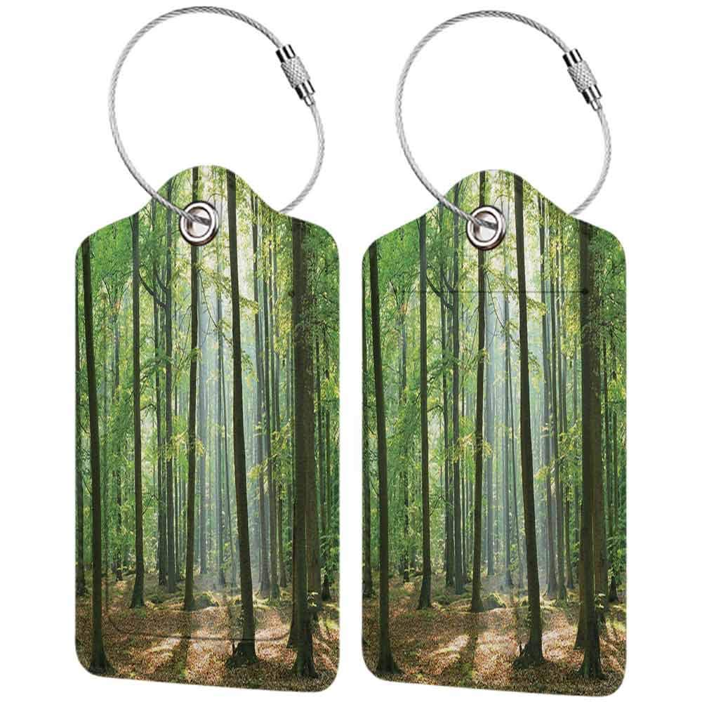 Personalized luggage tag Farm House Decor Collection Morning Sunbeams Hit Natural Alive Spring Forest from the Sky in a Sunny Day Picture Easy to carry Olive Green Khaki W2.7 x L4.6