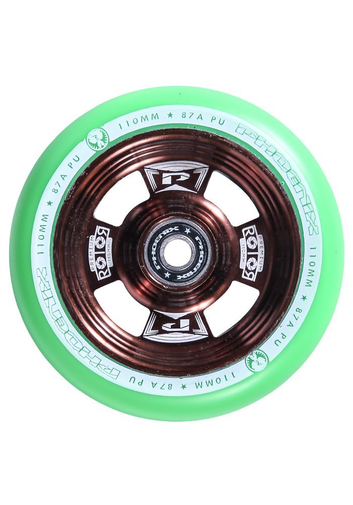 Phoenix Rotor Pro Scooter Wheel 110mm with ABEC 9 Bearings (Bronze/Green)