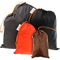 Fenteer Lightweight Nylon Compression Stuff Sack Bag Waterproof Outdoor Camping Small Sleeping Bag Black Drawstring Bag, 5 Sizes Pack