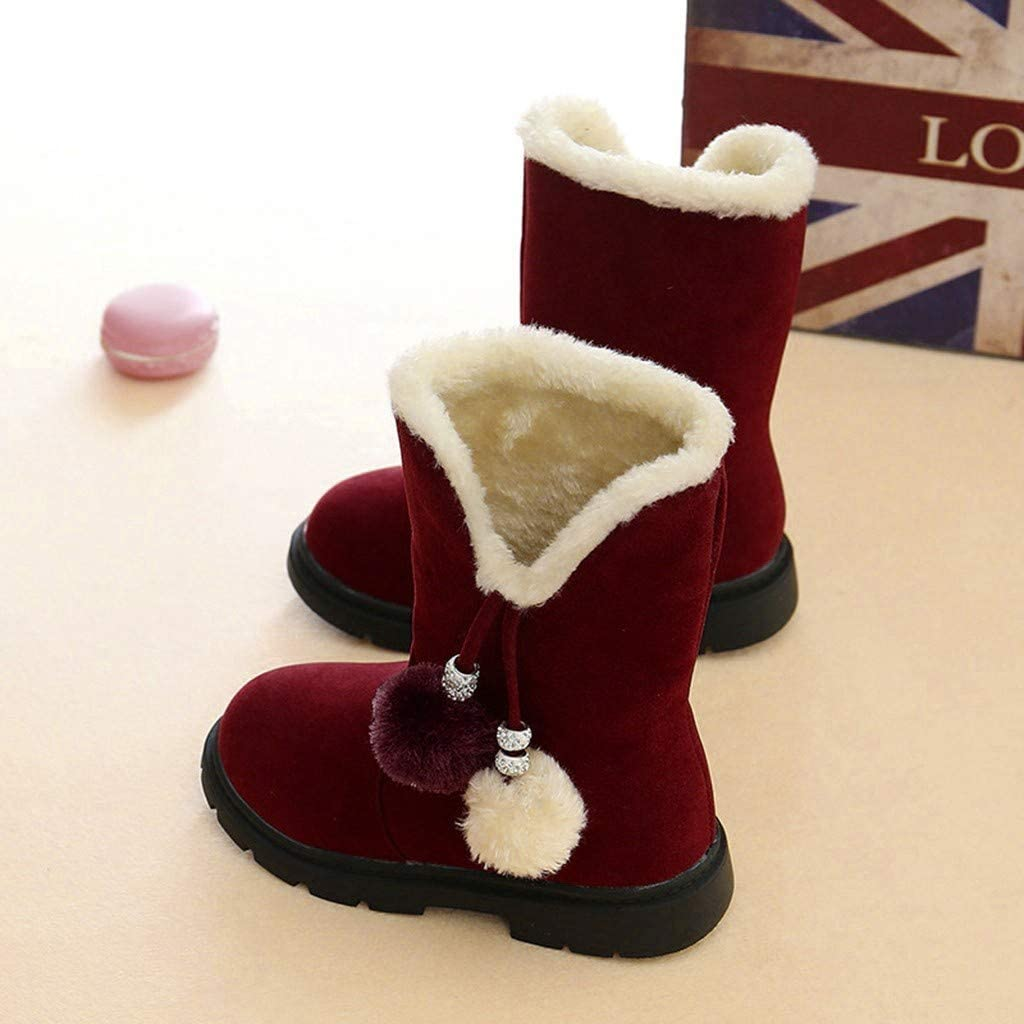LILICAT Baby Girl Keep Warm Soft Sole Snow Boots Soft Crib Shoes Toddler Boots Lovely Fleece Pom Pom Booties Shoes For 3-12 Years Old