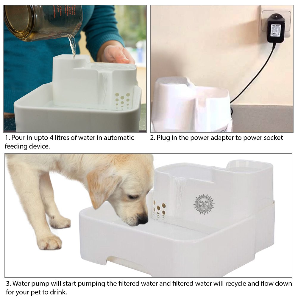 Automatic Drinking Water Fountain for Pets -- Easy Reach, Safe Use Drinking Dish for Dogs, Cats by SunGrow - 1 Gallon Capacity, Filtration System - Ideal for Beagles, Labradors & Calicos