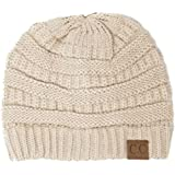 Winter White Ivory Thick Slouchy Knit Oversized Beanie Cap Hat,One Size,Beige