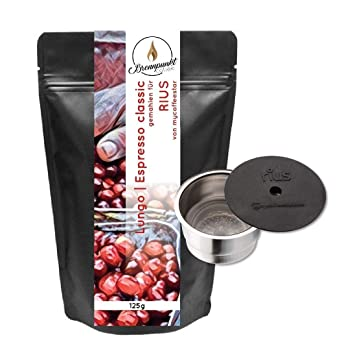 RIUS: cápsula recargable para máquinas de café CAFISSIMO® de las máquinas de café TCHIBO y CAFFITALY® con 125 g de Premium Café: Amazon.es: Hogar