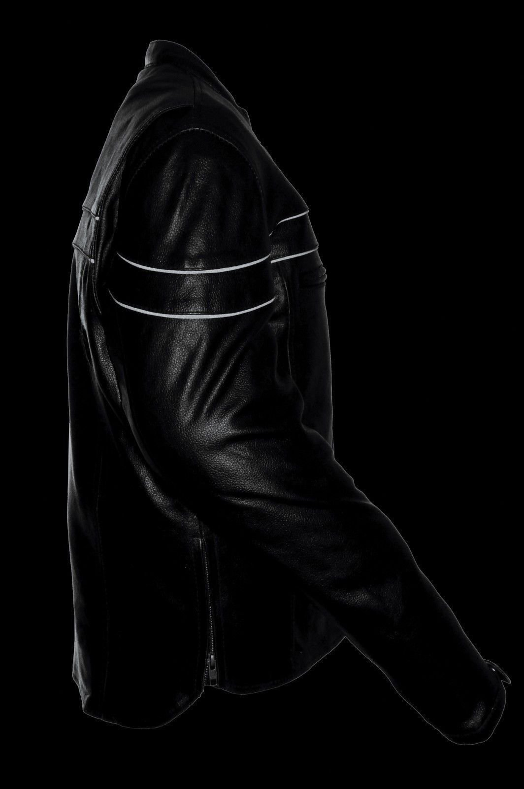Draem Mens Motorcycle Blk Reflective Piping Cow Leather Tall Jacket Extra 3'' Longer (3XL Regular)