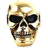 Jewelry Kingdom Stainless Steel Vintage Gothic Skull Head Biker Men's Ring Gold Black