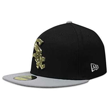 4505acd7caf New Era MLB Chicago Sox Black and Grey Fitted Cap With Gold Metal Logo (7