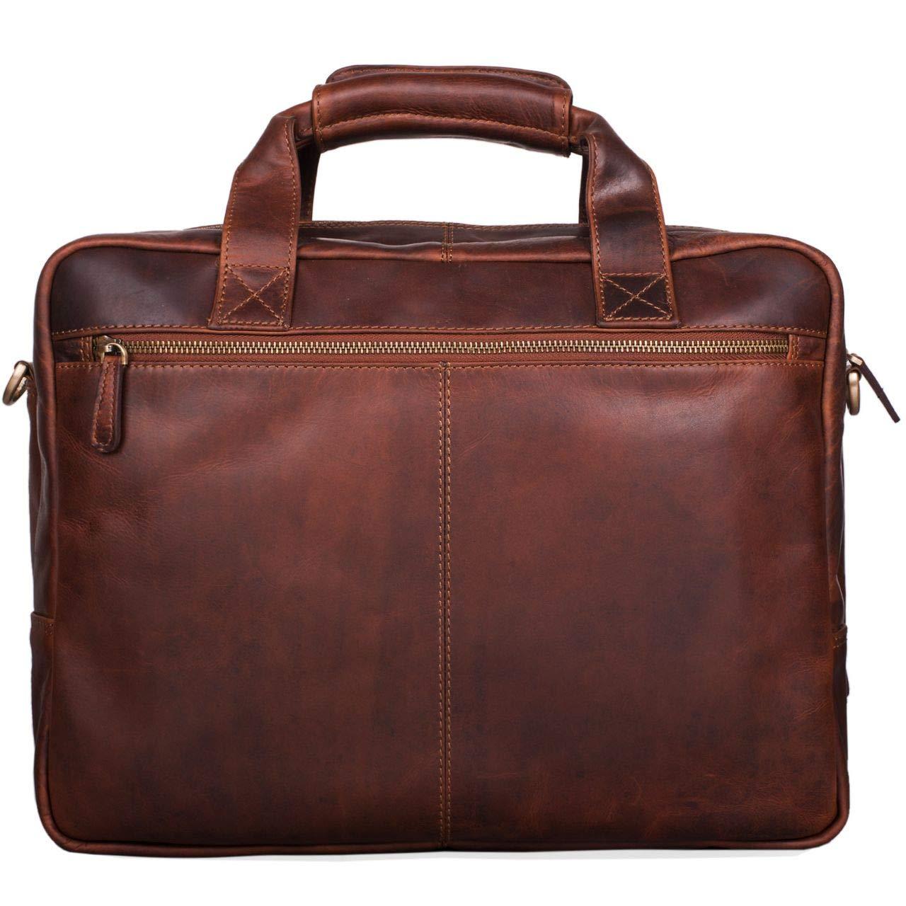ce657475d6 STILORD 'Explorer' Lehrertasche Leder Herren Damen Aktentasche Büro  Schulter- oder Umhängetasche für Laptop mit Dreifachtrenner Echt Leder  Vintage, ...