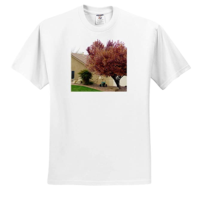 3dRose Jos Fauxtographee- Tree A Blossoming Tree with White Flowers on Green ts/_319580 Adult T-Shirt XL