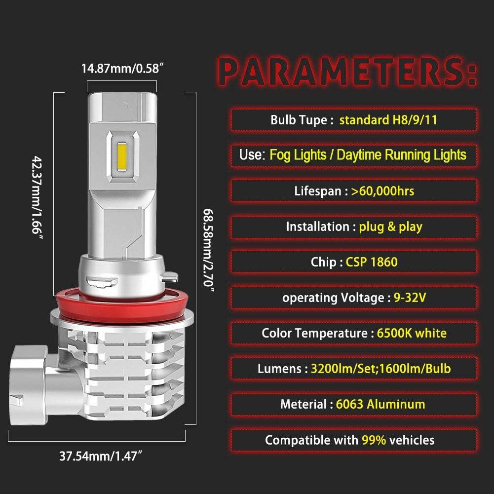 32V pack de 2 Garantie 2 ans NATGIC H11 H8 H9 Ampoules Antibrouillard /à LED Hight Power 55W Puces CSP Super Lumineuses pour Feu de Circulation Diurne 3200LM et 6500K Blanc X/énon DC 9V